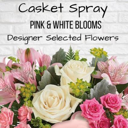 Casket Spray-Pink & White