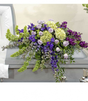 Casket Spray Purples.  in Oakville, ON   ANN'S FLOWER BOUTIQUE-Wedding & Event Florist