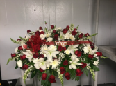 Casket spray red and white Casket spray