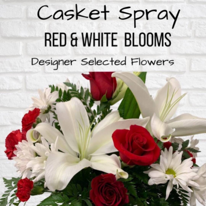 Casket Spray-Red & White