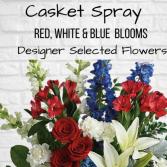 Casket Spray-Red, White & Blue
