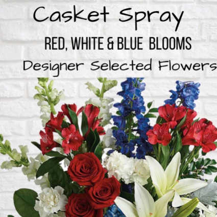 Casket Spray-Red, White & Blue