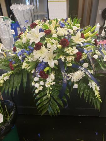 Casket spray  Red, white blue casket spray