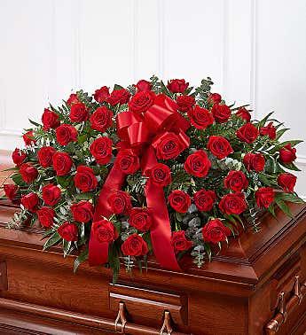 Casket Spray Roses Red