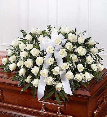 Casket Spray Roses White
