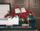 CASKET SPRAY WHITE BIBLE