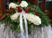 Casket Spray with Floral Cross