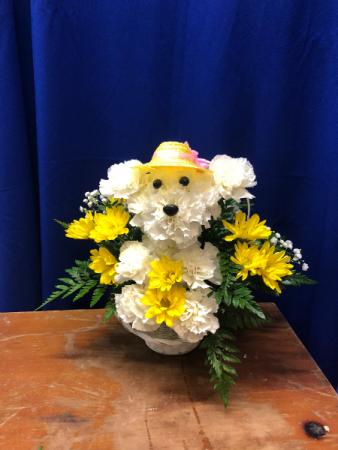 Casper's Girlfriend Doggy Arrangement Basket Arrangement
