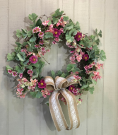 Casual Pink Wreath Powell Florist Exclusive