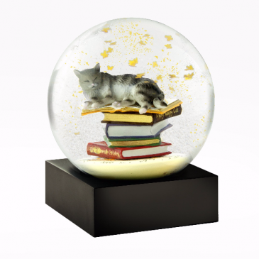 Cat on Books Snow Globe Wrapped Gift