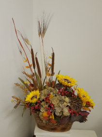 Cattails, wheat and sunflower  Silk flower arrangement