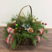 Cedar basket Outdoor Christmas arrangement