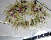Ceiling light encircled by roses and crystals WEDDING