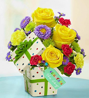 """""""Celebrate the Day"""" Present Bouquet Ceramic with Lid in Oakdale, NY 