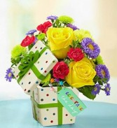 "Celebrate the Day"" Present Bouquet Vase arrangement"