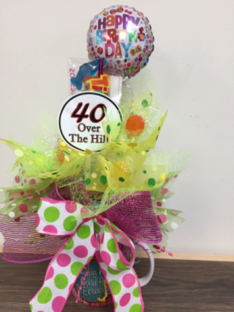 Celebrating 40 Candy bouquet mug arrangement