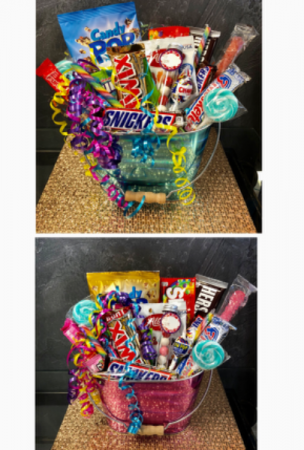 Celebration Candy  Bucket in Blue or Pink