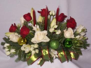 """CELESTIAL EMERALD CLASSICS CENTERPIECES Christmas Centerpiece Arrangements - AMAPOLA BLOSSOMS Prince George BC. Christmas Candle Centerpieces, """"Christmas Roses Arrangements Prince George BC"""""""