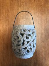 Cement Cut Out Lantern