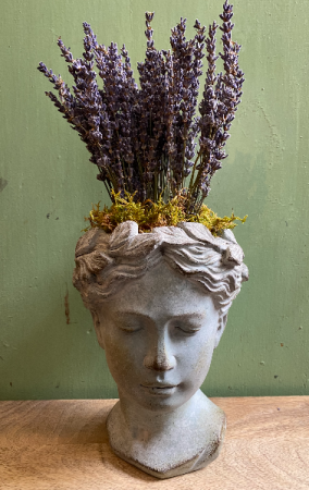 Cement Goddess Planter with Dried Lavender Arrangement