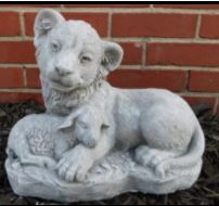 Cement Lion and Lamb