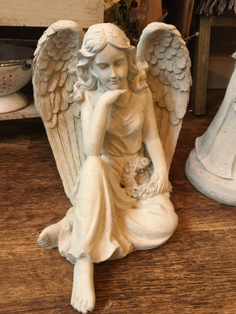 Cement Sitting Angel Holding Wreath SYMPATHY ARRANGEMENT/GIFT/HOME