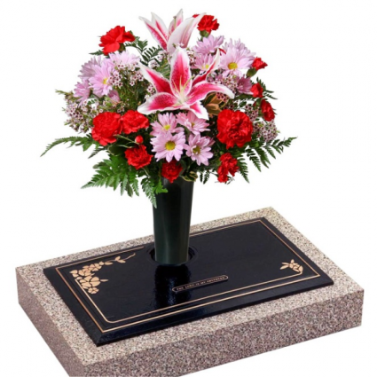 Cemetary Vase with Fresh Flowers