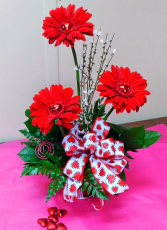 Center of my Heart Gerbera daisies with hearts