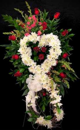 Missing You Red & Pink Floral Grapevine Heart