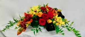 Thanksgiving Love Fall colors centerpiece in Coral Springs, FL | Hearts & Flowers of Coral Springs