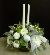 Centerpiece Silver & White with Candle