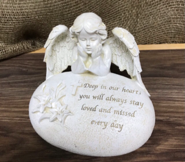 Ceramic angel with verse Use alone or add to arrangement