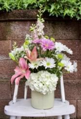 Ceramic Crock W/Assorted Flowers