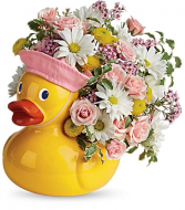 ceramic duck pink new baby