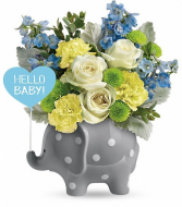 ceramic elephant  with blue flowers new baby