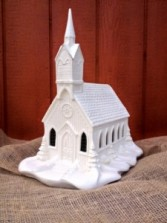 Ceramic Light Up Musical Church XL