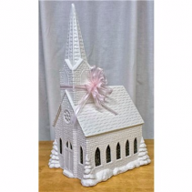 CERAMIC MUSICAL LIGHTED CHURCH