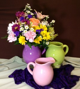 Ceramic Pitcher with Assorted Flowers Margot's Delivery ONLY