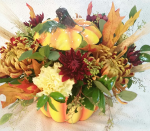 Ceramic Pumpkin arrg fall centerpiece in Clio, MI | WILLOW COTTAGE FLOWERS AND GIFTS