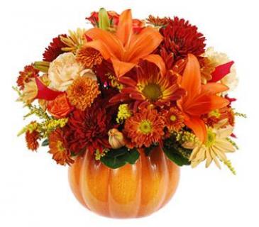 Ceramic Pumpkin Bouquet Fall Flowers