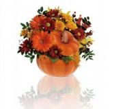 Ceramic Pumpkin with fall flowers