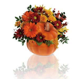Ceramic Pumpkin with fall flowers
