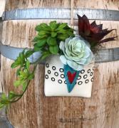 Ceramic & Succulent wall hanger