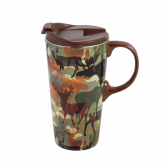 Ceramic Travel Cup, 17 OZ. ,w/box, Woodland Camouf