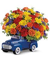 Ceramic Truck Floral Arrangement