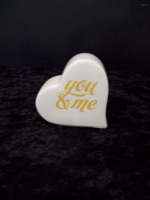 "Ceramic ""You & Me"" heart  accent piece"