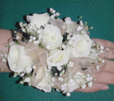Champagne and Black Wrist Corsage