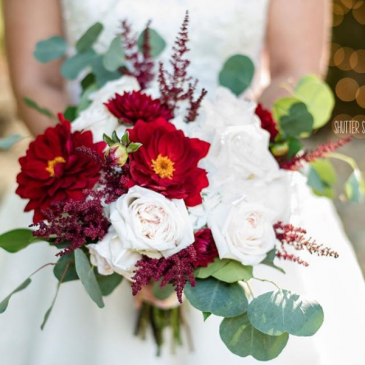 Champagne and crimson bridal bouquet wedding flowers