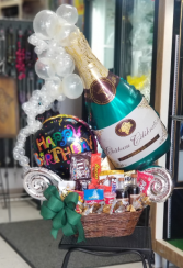 Champagne Birthday Bash Box  Balloon and Goodie Basket