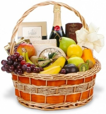 CHAMPAGNE, FRUIT & GOURMET NON-ALCOHOLIC GIFT BASKET